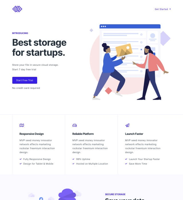 Template Preview SaaS Landing Page 4