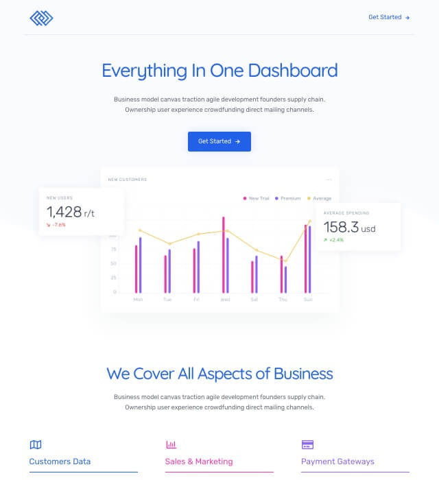 Template Preview SaaS Landing Page 3