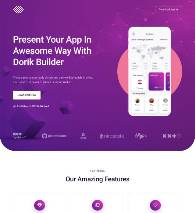 Template Preview App Landing Page 1