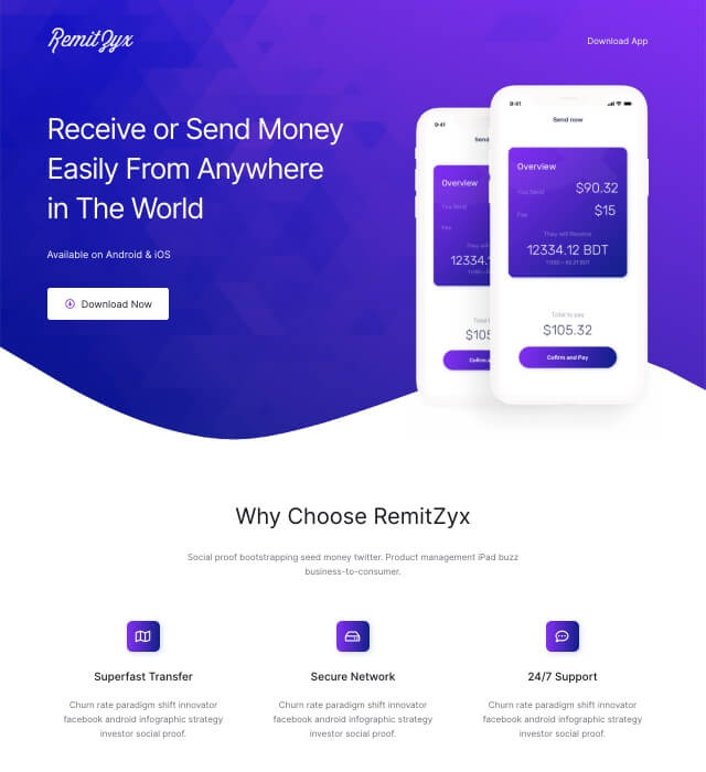 Template Preview App Landing Page 2