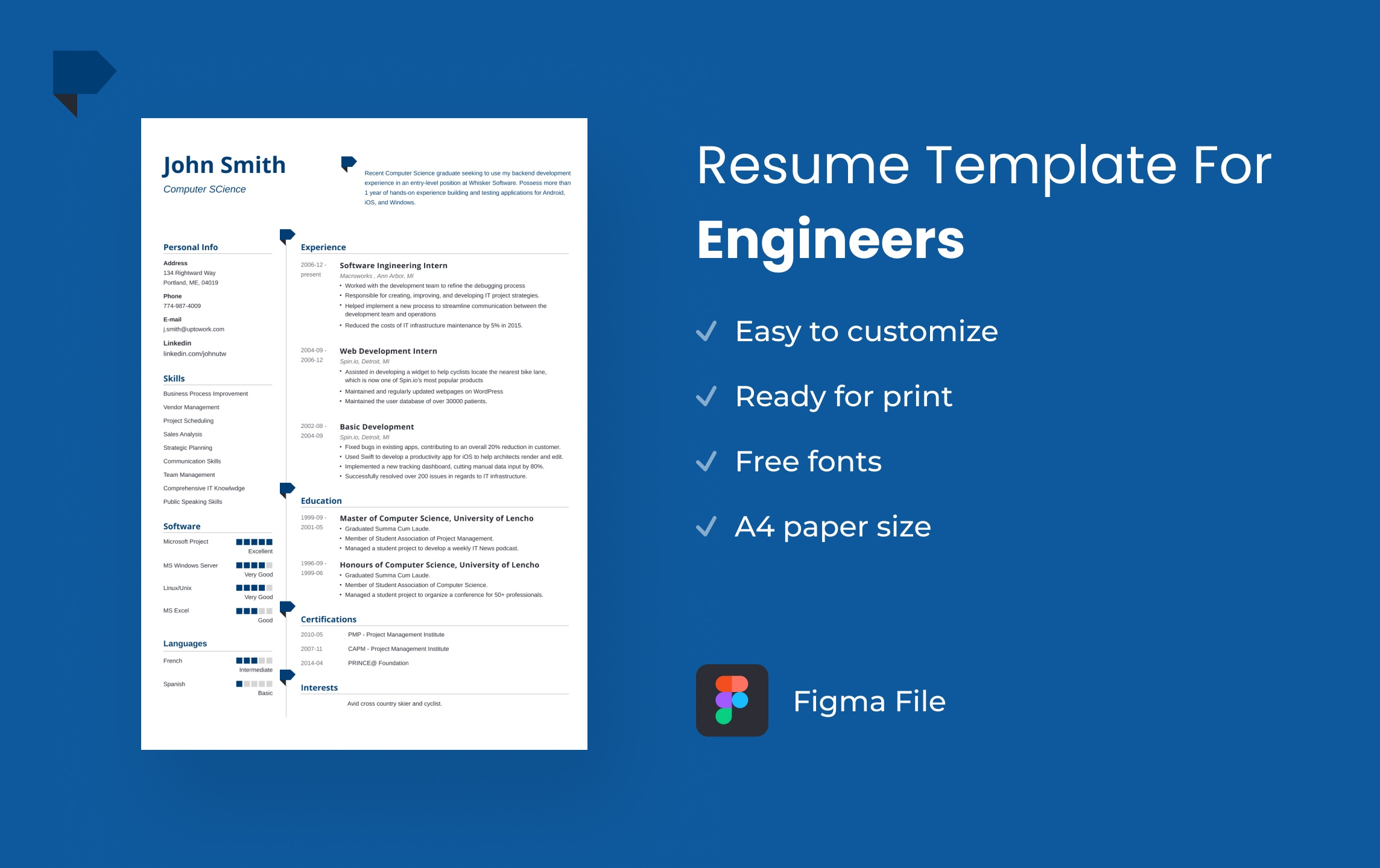 Free Figma Resume Template for Engineers