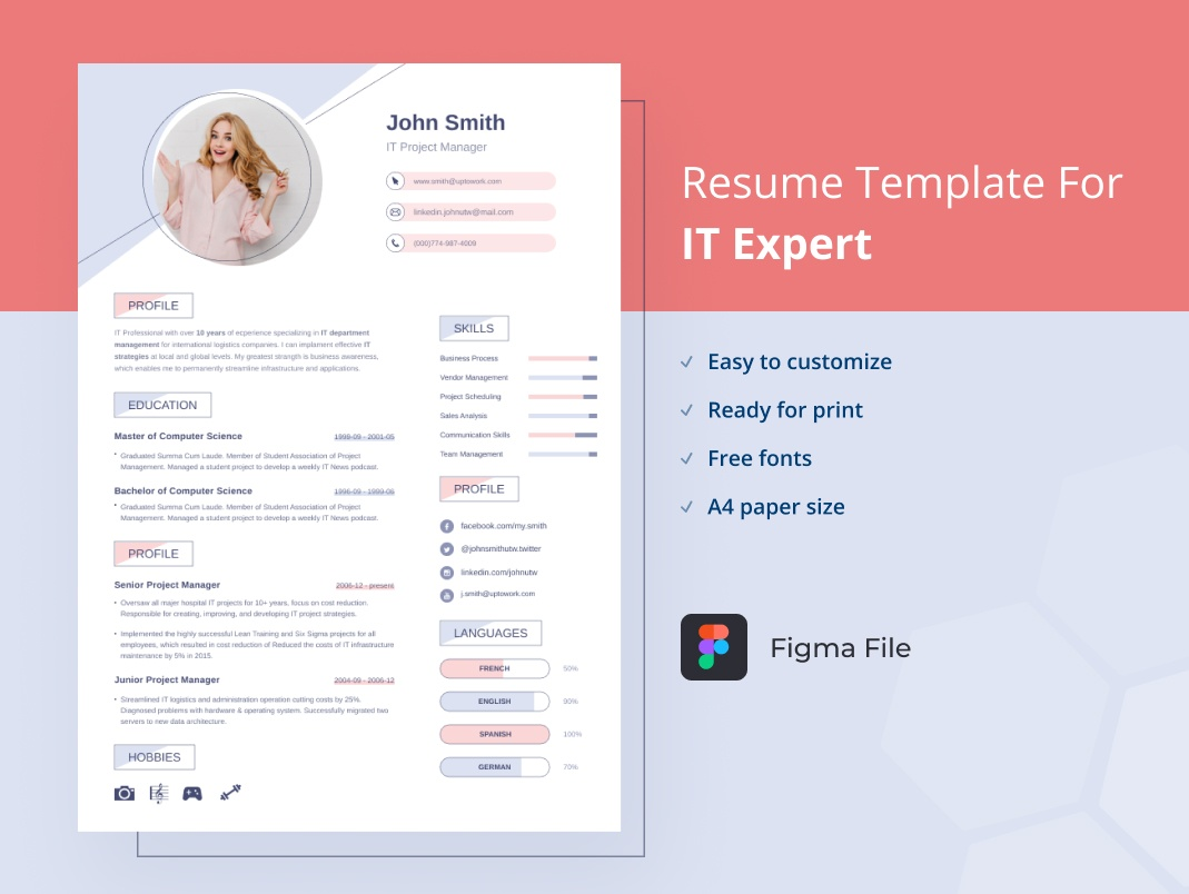 Figma resume for girl