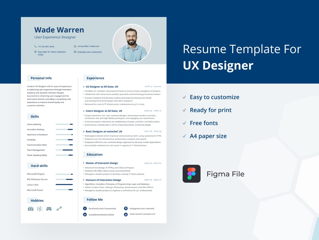 Free Figma Resume Template for UX designer