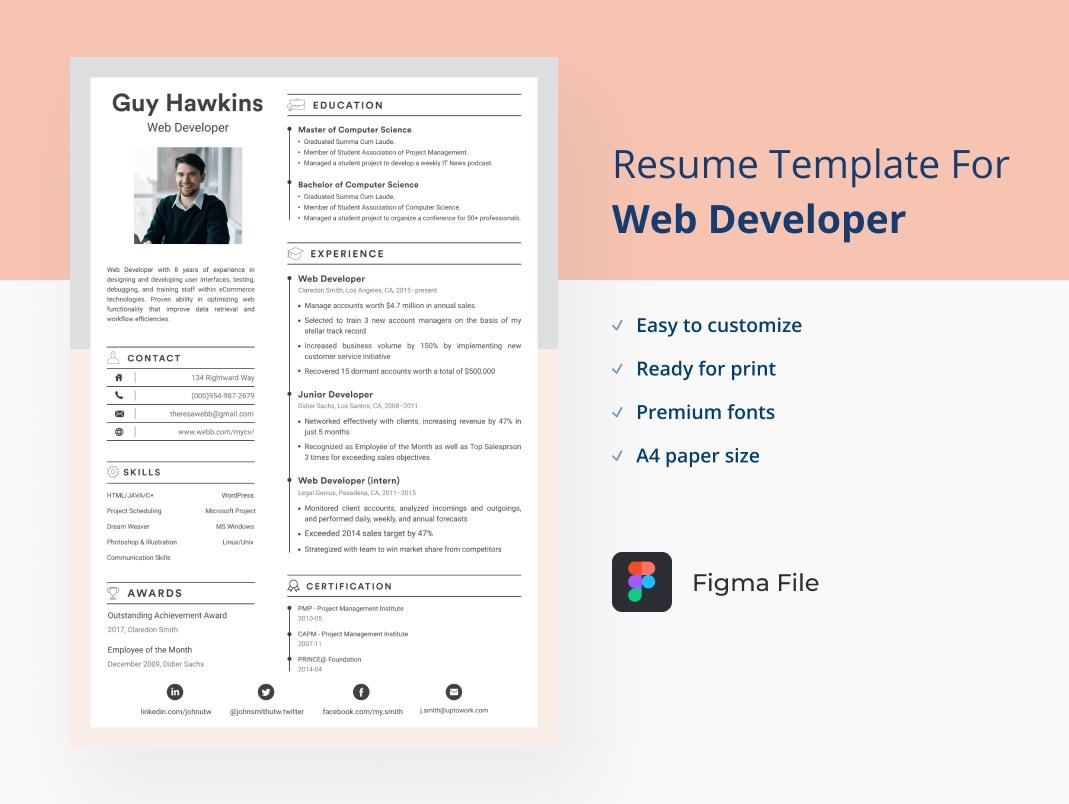 Figma free resume for web developer
