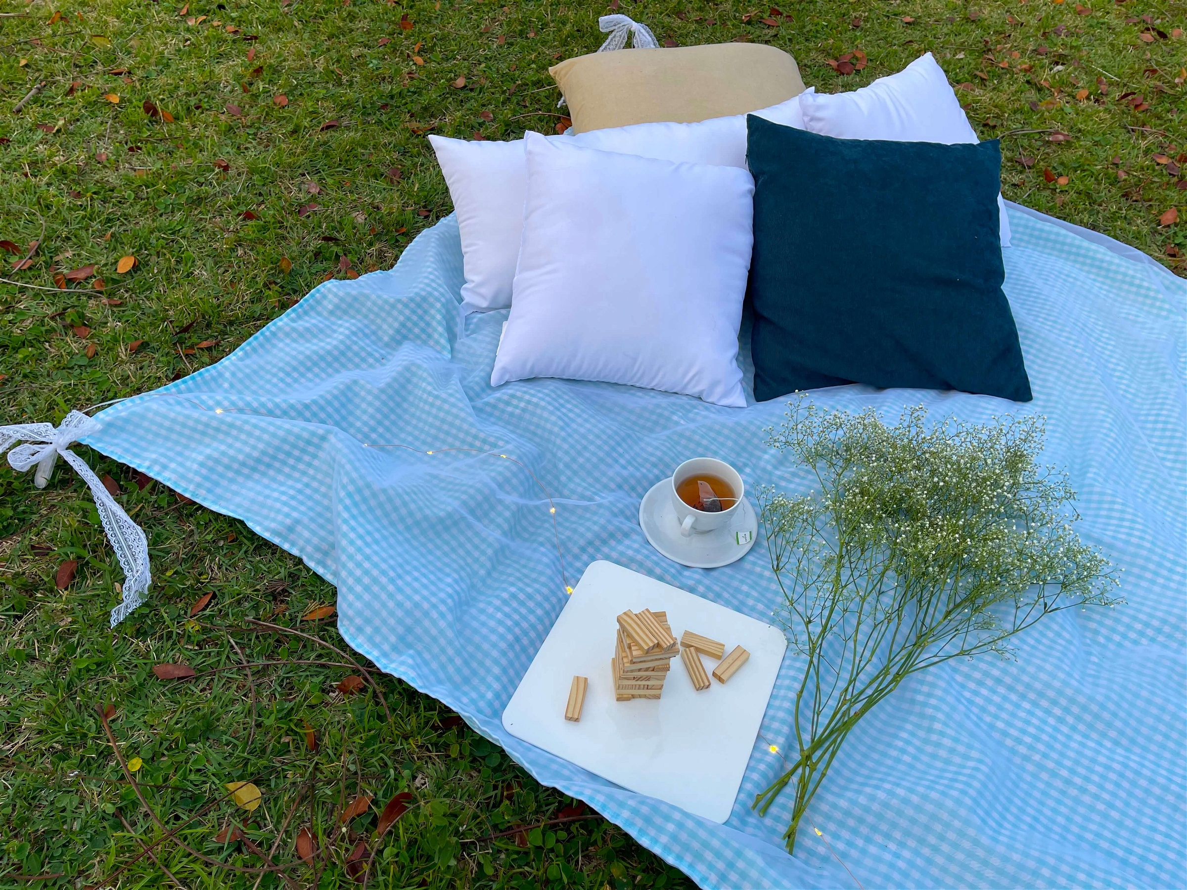 Simple picnic with flowers, tea and games in Luis Muñoz Rivera Park. Designed by Lovely Picnic Hour