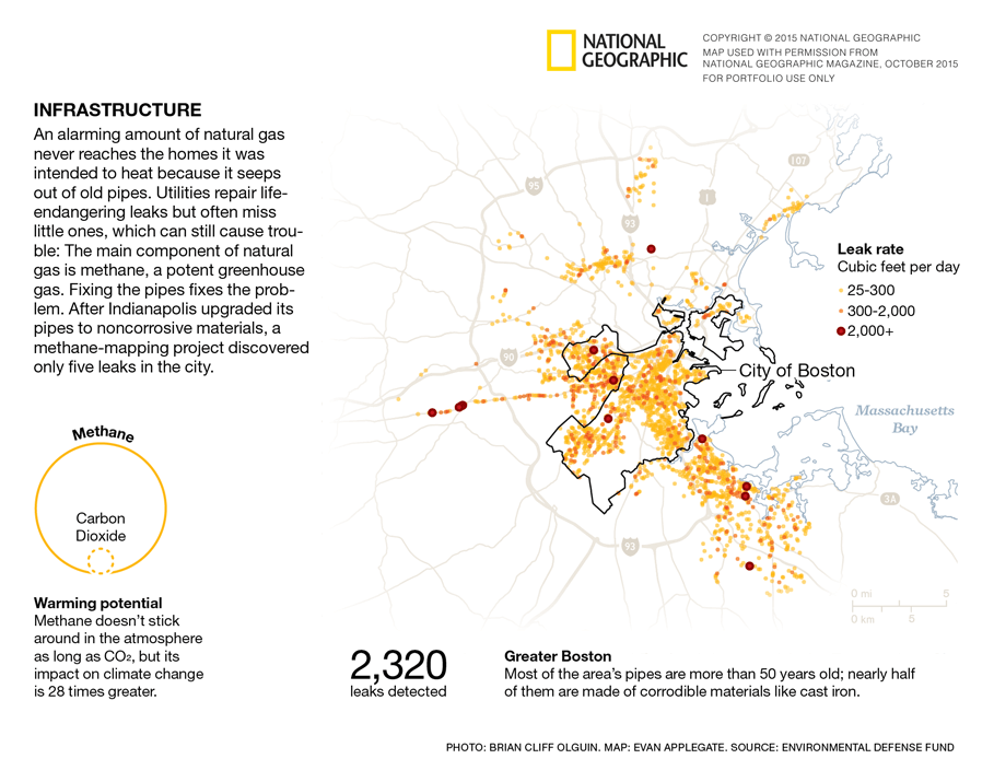 National Geographic map and data visualization – Boston Gas Leaks