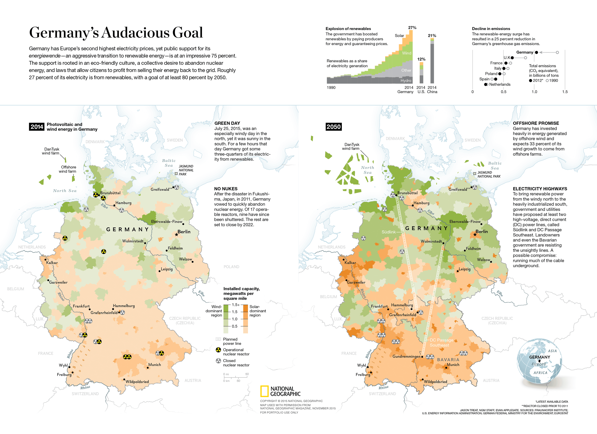 Map and data visualization for National Geographic –Germany's Energy Revolution
