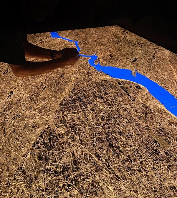 Illuminated map detail: Lake Tahoe