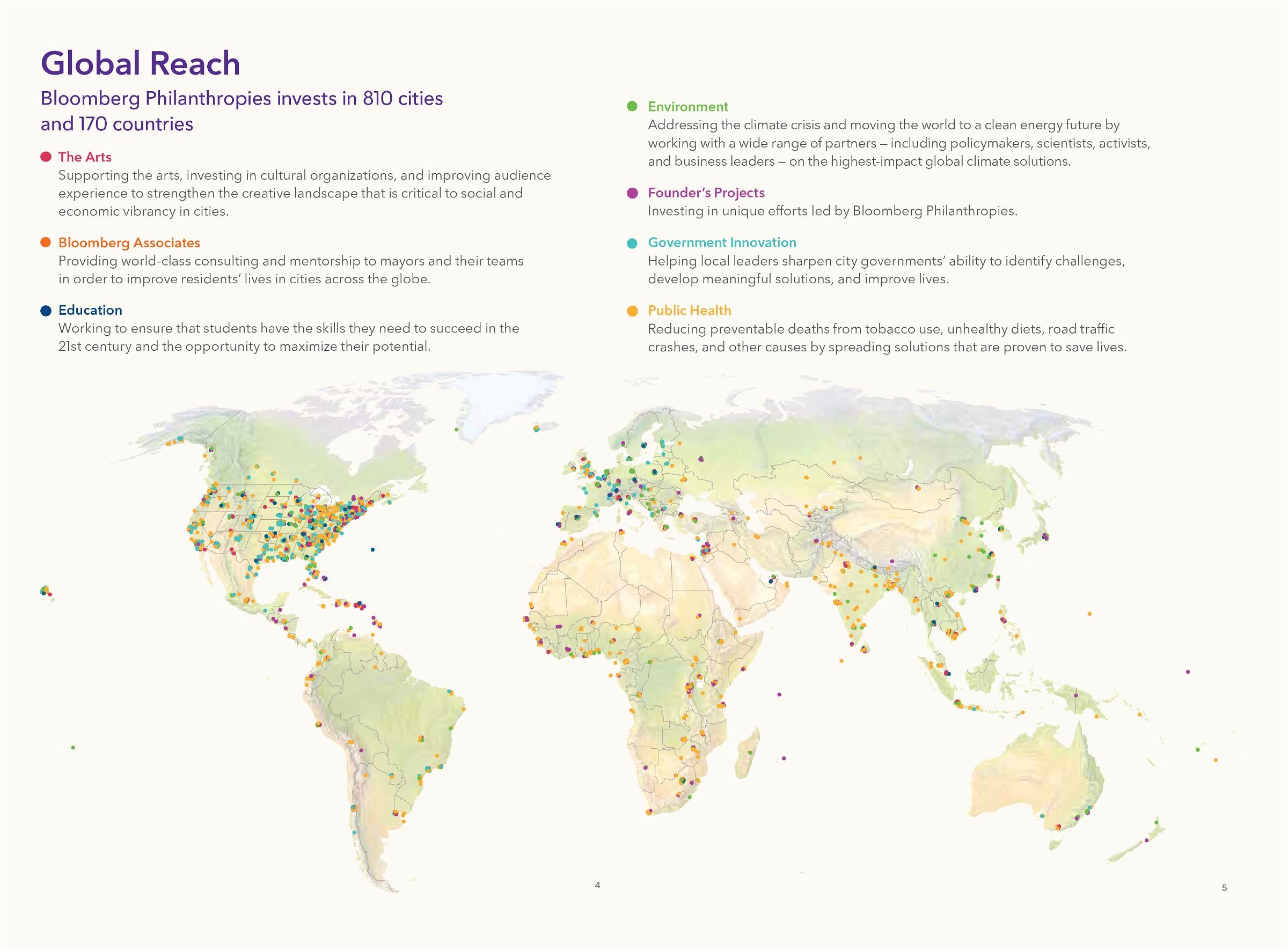 Map of Bloomberg Philanthropies' 2020 programs