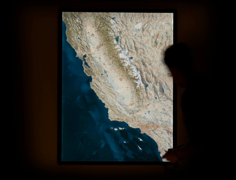 4x3 foot California illuminated map by Evan Applegate.