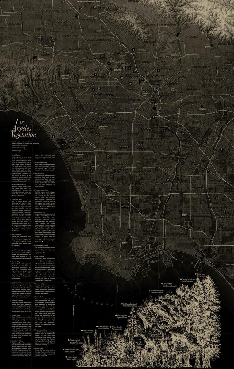 Map of Los Angeles vegetation by Evan Applegate.