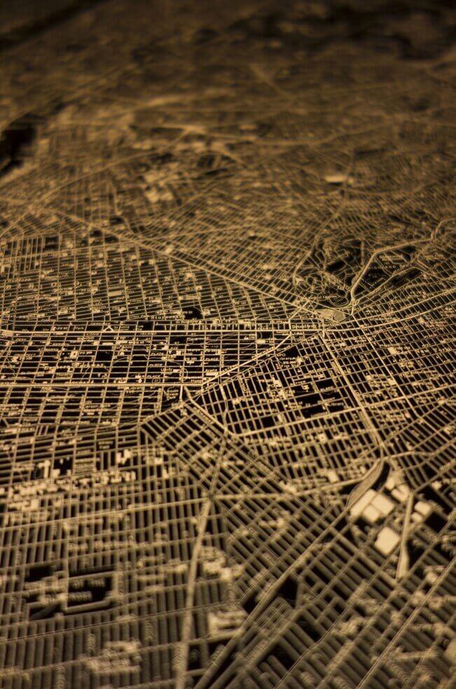 1970s-era illuminated topographic map of New York City.