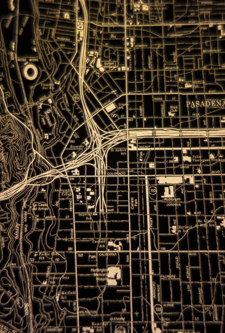 Angeles National Forest illuminated map.