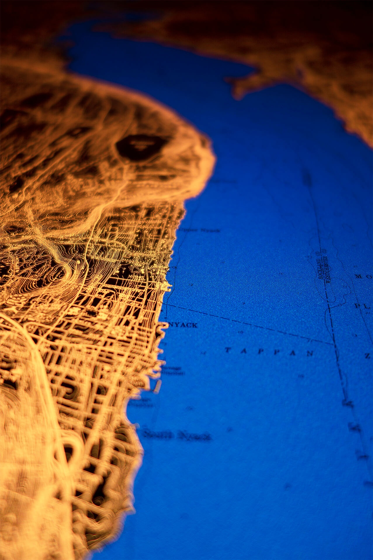 6x4-foot map of New York's Hudson River Valley.