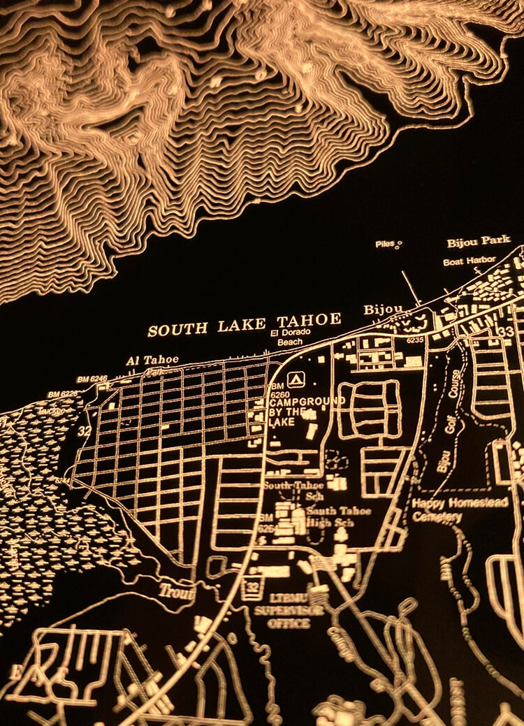 Lake Tahoe map closeup: South Lake Tahoe