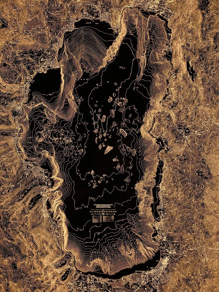 Closeup of Lake Tahoe illuminated map.