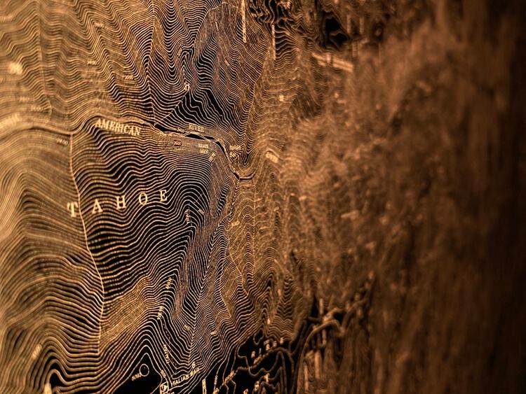 Lake Tahoe illuminated map closeup.