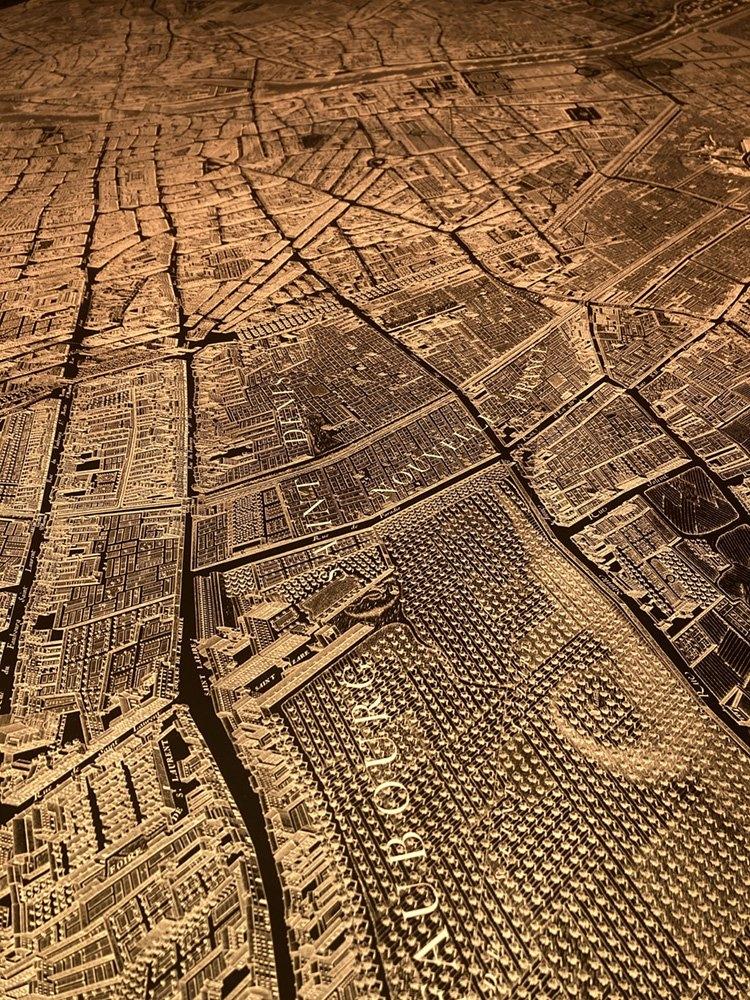 Paris illuminated map closeup.