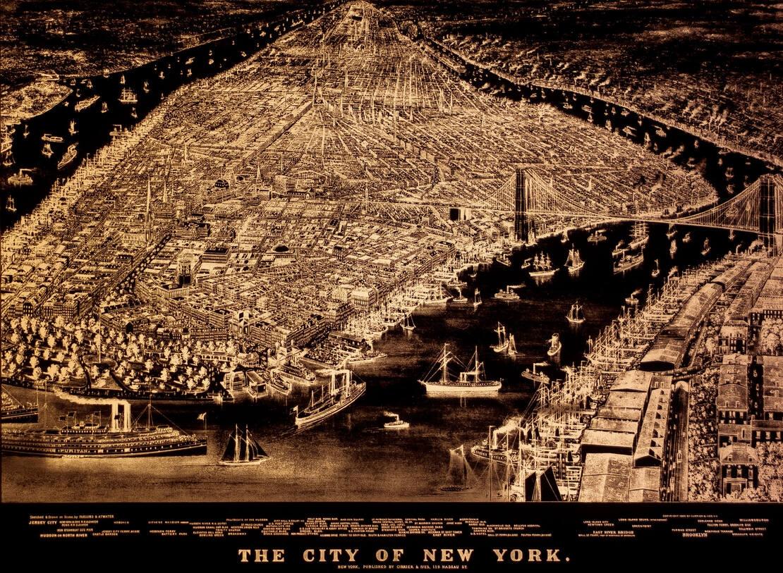 1883 illuminated map of Manhattan.