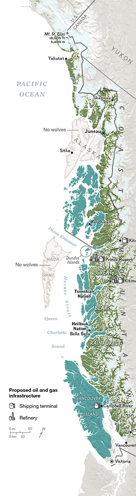 Wolves in Canada map for National Geographic