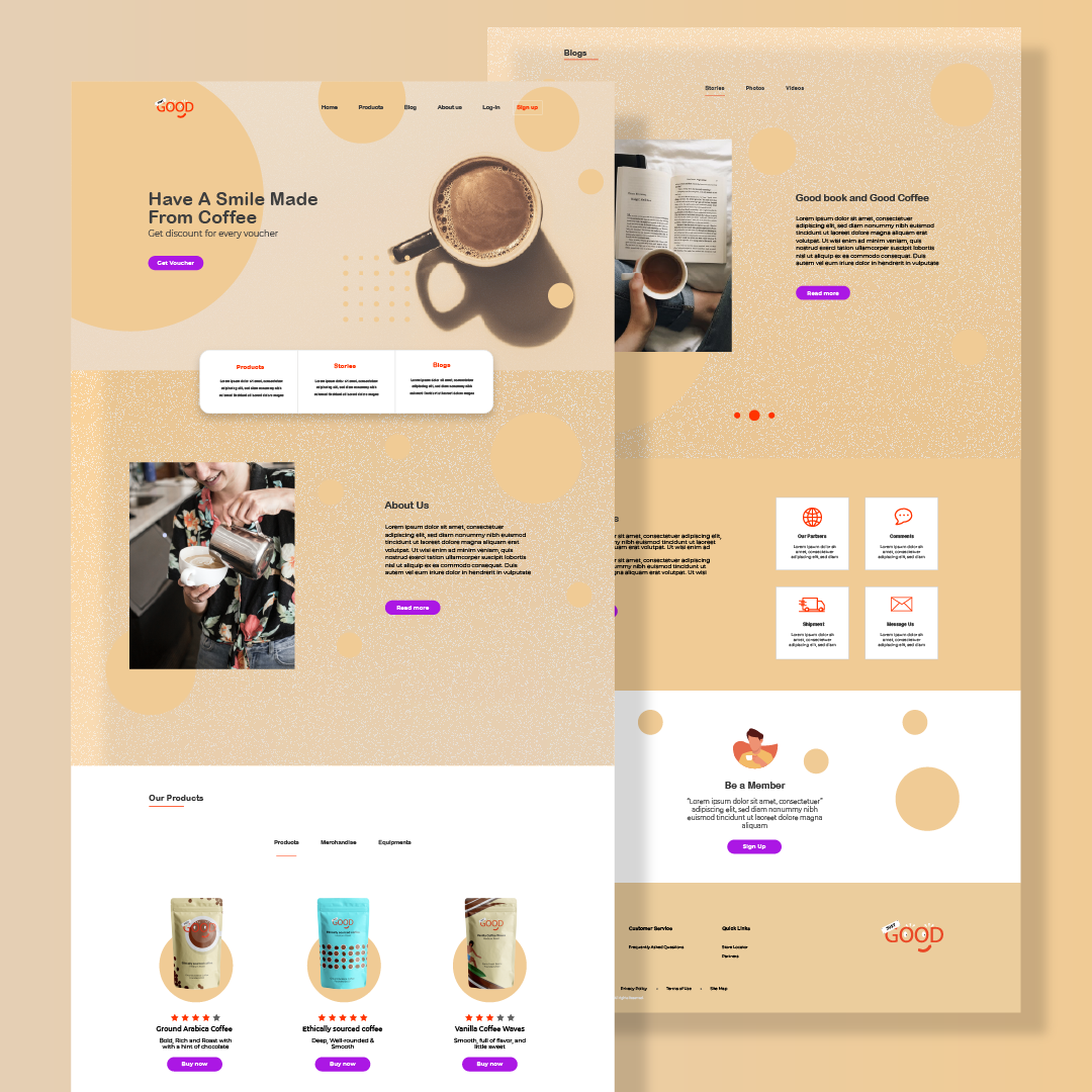 Landing page for eco coffee brand