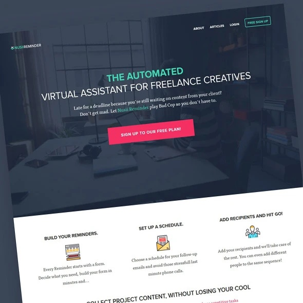 example of a SaaS landing page design