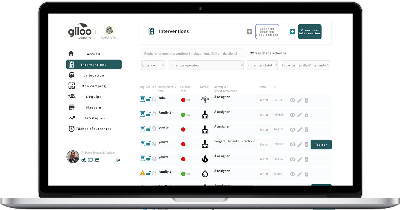 Giloo plateforme Saas de gestion d'interventions camping et HPA