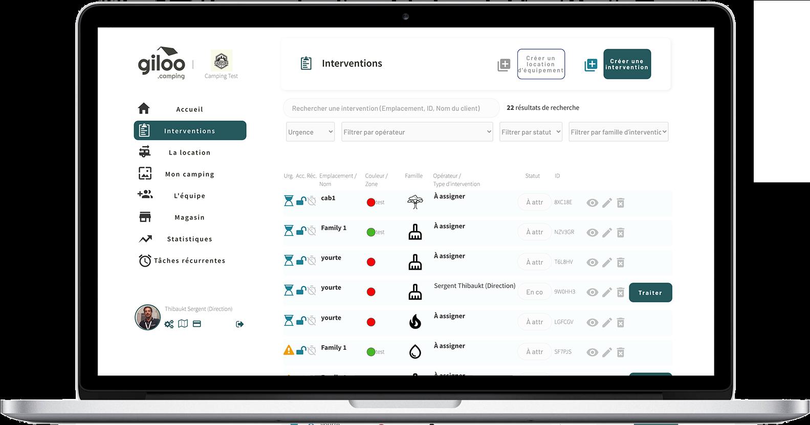 Giloo app de maintenance pour campings et HPA