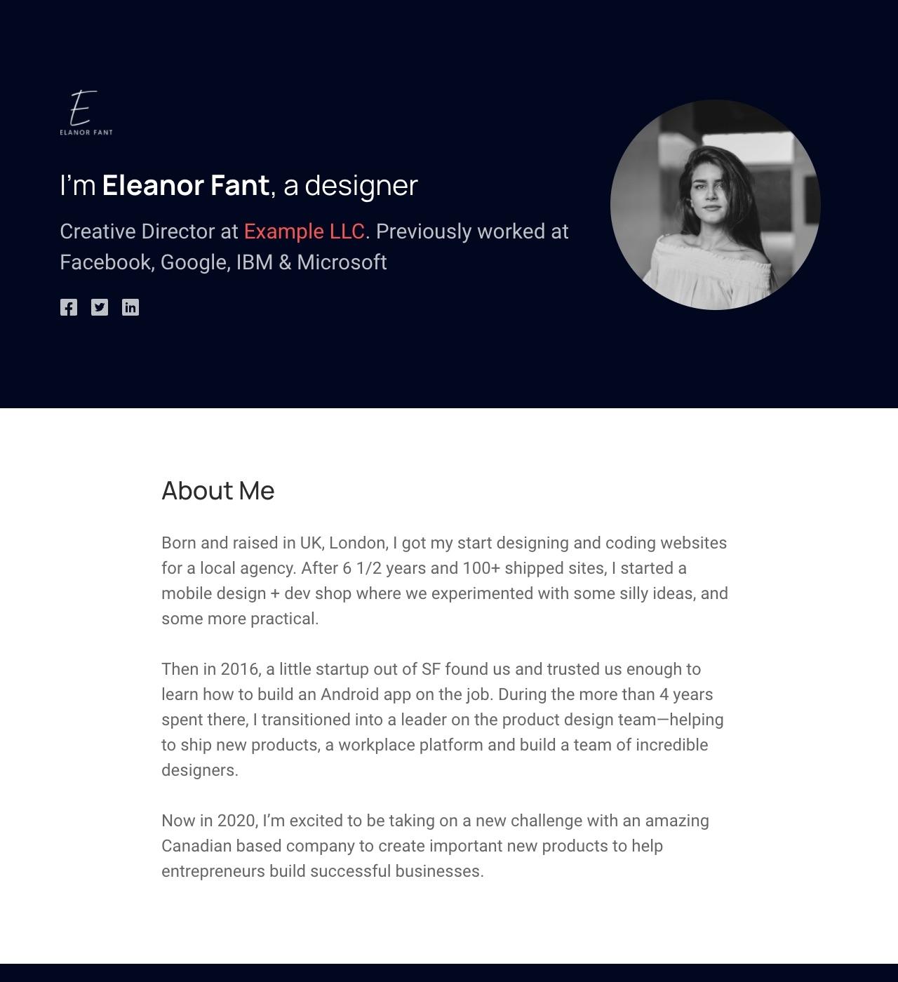 Elanor - Personal Portfolio Template